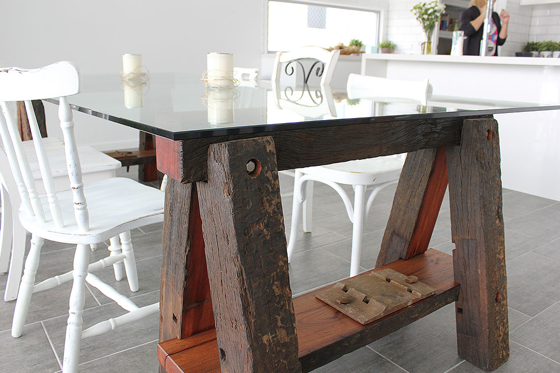 Glass and Recycled Ironbark Table